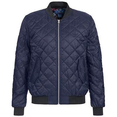 38a3667577 adidas Originals Womens Bomber Trefoil Casual Fashion Quilted long Sleeve  Jacket