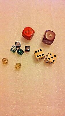 Vintage Mixed Lot of 10-Dice~Glass, Bakelite/Plastic and Wood