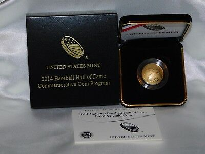 2014W $5 Gold BaseballHall Of Fame Commerative Coin W/ogp