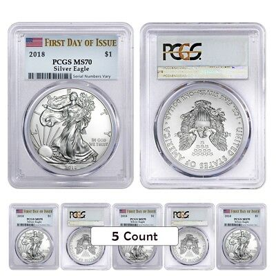 Lot of 5 - 2018 1 oz Silver American Eagle $1 Coin PCGS MS 70 First Day of Issue