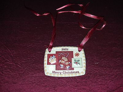 Longaberger Pottery 2002 ChristmasTraditions Basket Tie-on, Made in USA