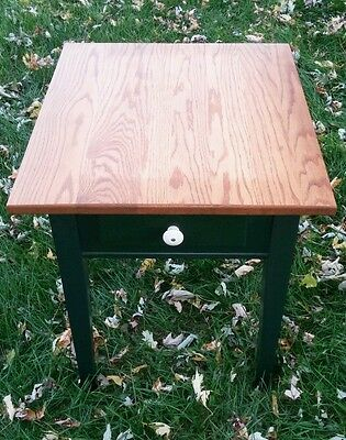 Vintage Pine Wood Amish American Country Living Room Green End Table With Drawer