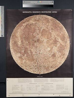 Vintage Original Russian Map of the Moon 1967 Poster Nasa Planetary Scientist