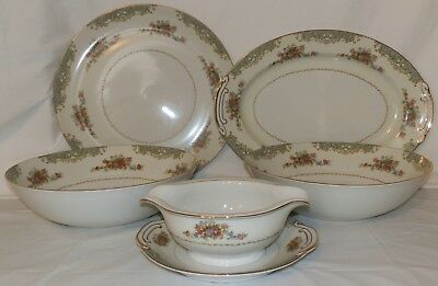 """Vintage Kyoto """"Cecelia"""" Fine China 5 Serving Pieces Made in Japan"""