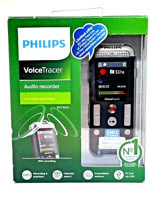 Philips VoiceTracer 2510 2-Mic Stereo Digital Audio Voice Recorder DVT2510
