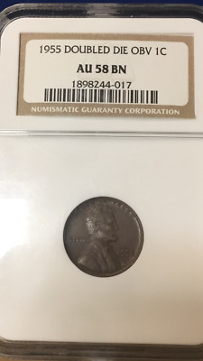 1955/55 Double Die Obverse Lincoln Wheat Cent Ngc Au 58 Bn No Reserve
