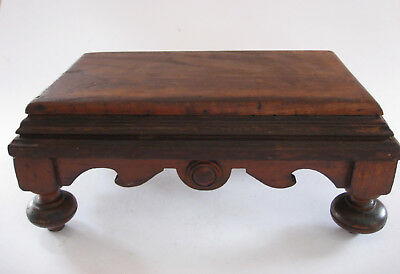 Antique Walnut Small Wooden Foot Stool Empire Style
