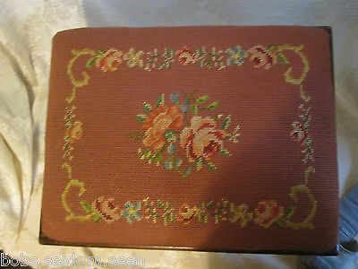 Vintage Victorian Style Footstool Burgundy Needlepoint Roses Carved Legs