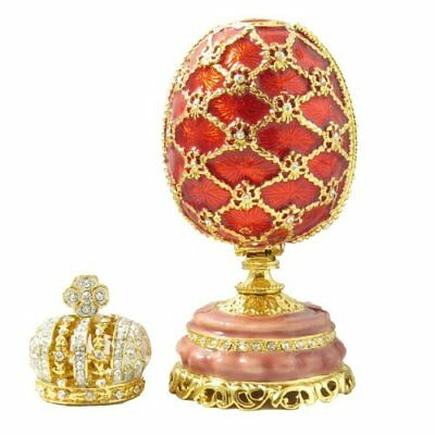 Red Enameled Feberge Style Russian Egg Mini Imperial Crown Swarovski Crystals