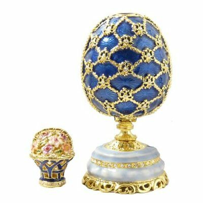 Imperial Blue Feberge Style Russian Egg Mini Basket Enameled Swarovski Crystals