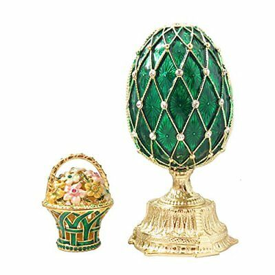 Emerald Green Feberge Style Russian Enameled Egg And Mini Floral Basket