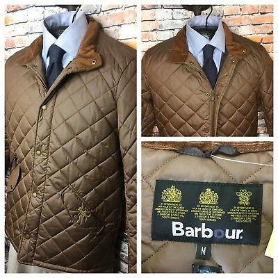 Barbour Quilted Jacket Coat Chelsea Sports Sandstone Brown Mens Medium