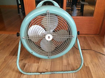 Vintage Aqua Turquoise Fan With Folding Legs