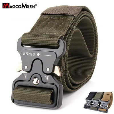 Mens Heavy Duty Metal Buckle Belts Combat Army Pants Belt Tactical Solider Belts