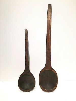 Primitive Antique Hand Carved Treen Large Spoon / Ladles - 19th Cent. - Lot of 2