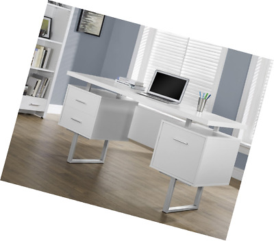 Monarch Specialties White Hollow Core Silver Metal Office Desk 60 Inch