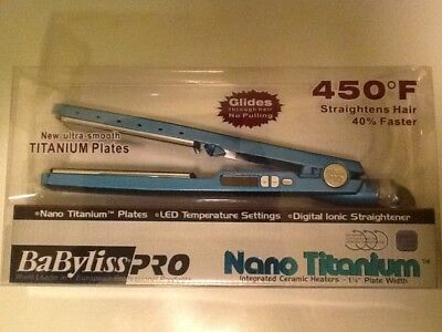 "BaByliss Pro Nano Titanium Plated 1.25"" Hair Straightener 450 degrees."