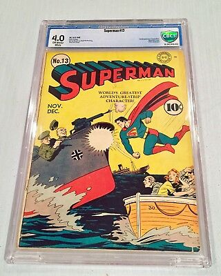 Superman 13 CBCS 4.0 ow/w pgs Golden Age Key First Jimmy Olsen not CGC PGX