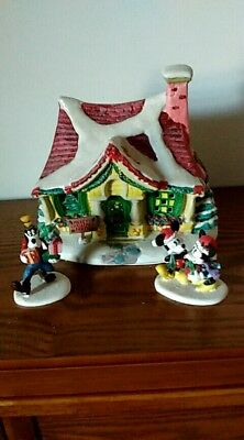 2004 Rare Vintage Mickey Mouse Christmas Party 3pc. Porcelain House - Brass Key