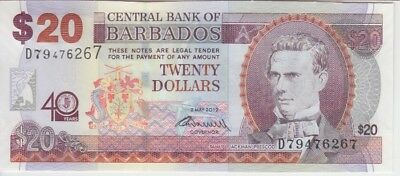 Barbados Banknote P72 20 Dollars Commemorative 40 Yrs Ctr Bk Of Bbd, Unc