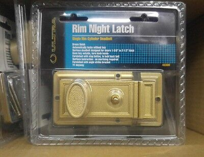 NEW Solid Brass Heavy Duty Lockset Single Rim Cylinder Deadbolt Night Latch LOCK