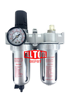 "1/4"" Mid Flow Air Moisture Filter Regulator Oiler Separator Lubricator Combo"