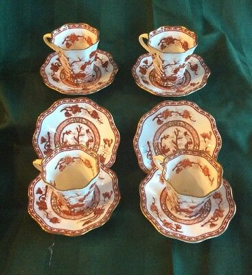 Lot Of 4 - Vintage - COALPORT - Bone China INDIAN TREE CORAL - Cup & Saucer Sets