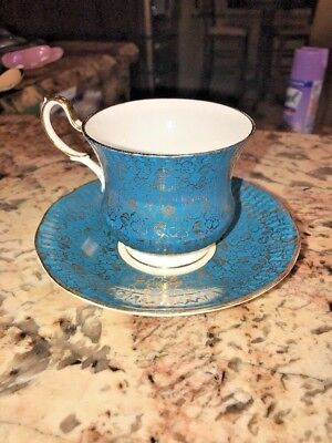 Queen Staffordshire English Fine Bone China Floral Gold & Blue Tea Cup, Saucer