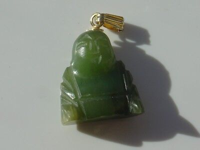 Vintage Carved Charm Pendant Green Jade Color Chinese Buddha