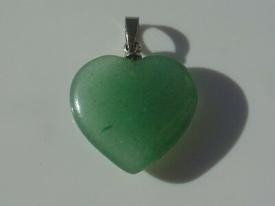 Vintage Carved Charm Pendant Green Jade Color Puffy Heart