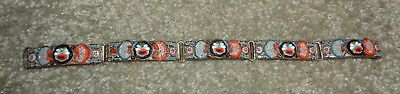 "Colorful Old Vintage Italian Micro Mosaic Panel Bracelet 7 1/2"" long"