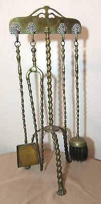 antique 1800's 19th century ornate brass claw footed swirl fireplace tool set