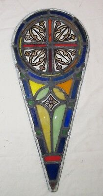 antique 1800's handmade stained leaded glass teardrop church window panel #2