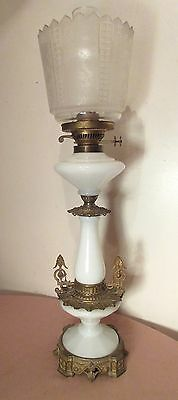 antique 1800's ornate gilt bronze blown slag glass Victorian parlor oil lamp big