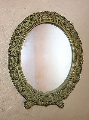 antique 1800's ornate Victorian hand carved gilt gilded wood wall oval mirror