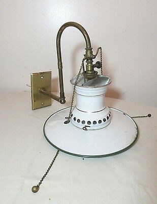 antique brass white enamel porcelain tole wall electrified gas fixture sconce