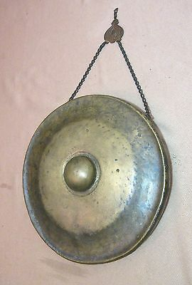 antique 19th century hammered thick bronze brass Laos Buddhist temple gong