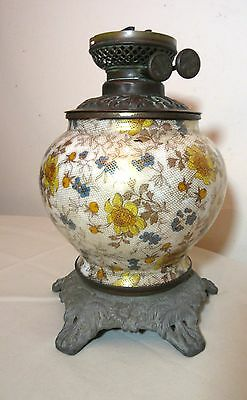antique 19th century Victorian ornate brass pottery banquet oil parlor lamp