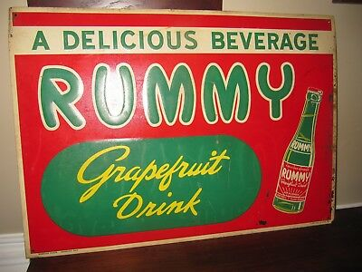 1940s Rummy Soda Embossed tin Sign