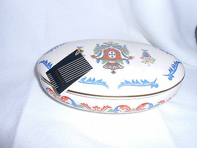 "Frazarte Hand painted covered oval dish with heraldic crest 8"" L by 5"" W"