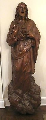 antique life-size 1700s hand carved religious church Jesus Christ wood sculpture