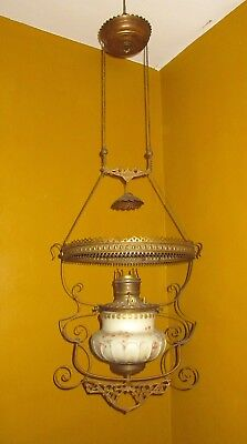 antique ornate 1800s brass glass electrified oil lamp chandelier ceiling fixture