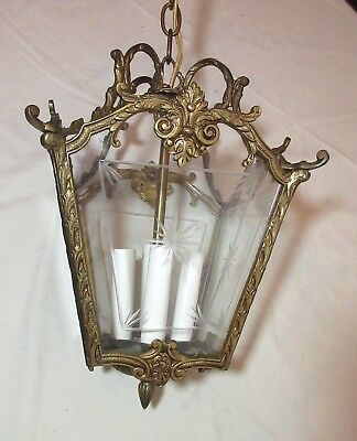 antique ornate brass crystal etched glass electric ceiling chandelier fixture