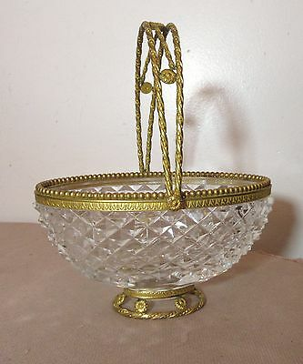antique ornate Empire French dore bronze crystal centerpiece bowl basket compote