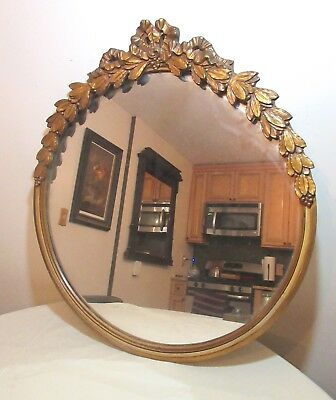 antique ornate Louis XVI style carved gilded gilt wood circular frame mirror