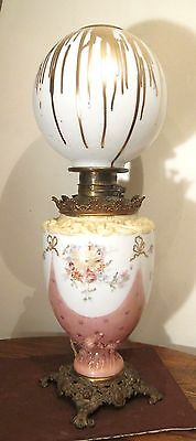 huge antique ornate glass brass painted Victorian parlor table oil electric lamp