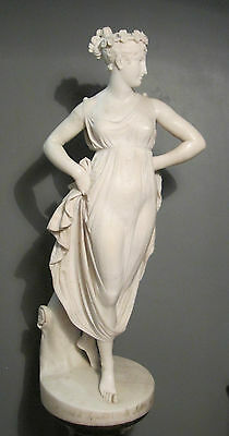 huge antique 18th century hand carved female figural Italian marble sculpture