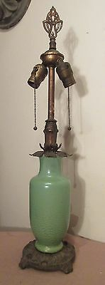 early antique ornate cast iron brass celedon pottery vase electric table lamp