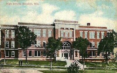 Baraboo, Wisconsin, WI, High School, Vintage Postcard Antique Old PC b7448