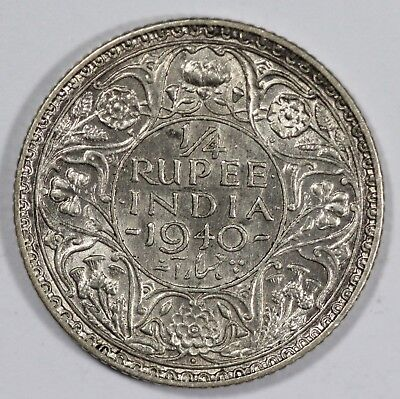 India 1940 (B) 1/4 Silver Rupee, about Uncirculated